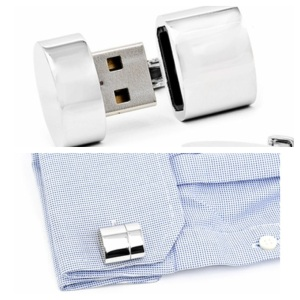 Ravi Ratan RR-435-WF Polished Silver Oval WiFi Hotspot and 2GB USB Cufflinks